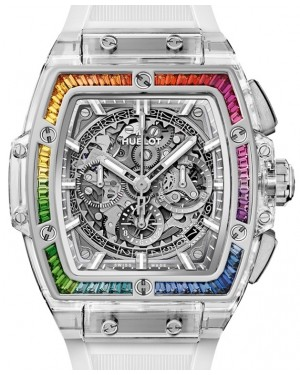Hublot Spirit Of Big Bang Sapphire Rainbow 641.JX.0120.RT.4099 Skeleton Index Rainbow Gem Bezel Sapphire Crystal Rubber 42mm - BRAND NEW