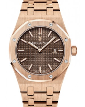 Audemars Piguet 67650OR.OO.1261OR.01 Royal Oak Quartz Ladies 33mm Brown Index Rose Gold - BRAND NEW