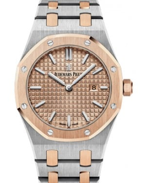 Audemars Piguet 67650SR.OO.1261SR.01 Royal Oak Quartz Ladies 33mm Champagne Index Rose Gold Stainless Steel - BRAND NEW