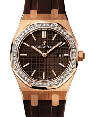 Audemars Piguet 67651OR.ZZ.D080CA.01 Royal Oak Quartz Ladies 33mm Brown Index Diamond Bezel Rose Gold Rubber - BRAND NEW
