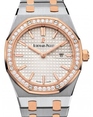 Audemars Piguet 67651SR.ZZ.1261SR.01 Royal Oak Quartz Ladies 33mm Silver Index Diamond Bezel Rose Gold Stainless Steel - BRAND NEW