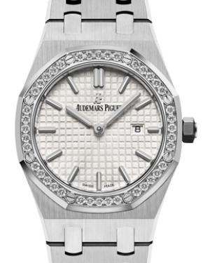 Audemars Piguet 67651ST.ZZ.1261ST.01 Royal Oak Quartz Ladies 33mm Silver Index Diamond Bezel Stainless Steel - BRAND NEW