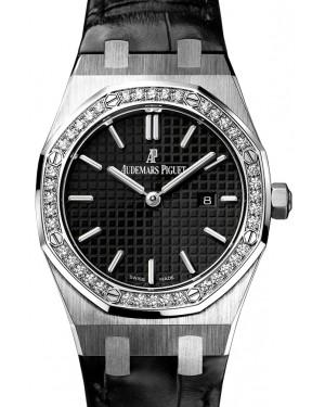 Audemars Piguet 67651ST.ZZ.D002CR.01 Royal Oak Quartz Ladies 33mm Black Index Diamond Bezel Stainless Steel - BRAND NEW