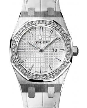 Audemars Piguet 67651ST.ZZ.D011CR.01 Royal Oak Quartz Ladies 33mm Silver Index Diamond Bezel Stainless Steel Leather - BRAND NEW