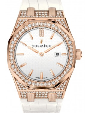 Audemars Piguet 67652OR.ZZ.D011CR.01 Royal Oak Quartz Ladies 33mm Silver Index Diamond Bezel Rose Gold Diamond Set Leather - BRAND NEW