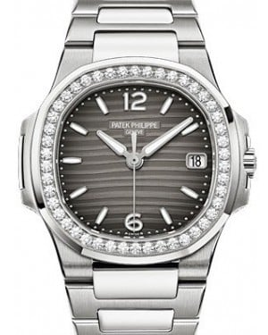 Patek Philippe 7010/1G-012 Nautilus Ladies 32mm Slate Arabic Index Diamond Bezel White Gold Quartz BRAND NEW