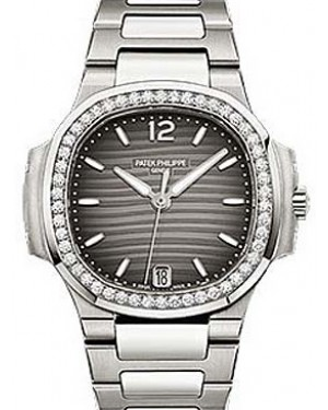 Patek Philippe 7018/1A-011 Nautilus Ladies 33.6mm Charcoal Index Diamond Bezel Stainless Steel Date BRAND NEW