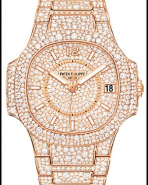 Patek Philippe Ladies Nautilus 7021/1R 33.6mm Diamond Index Rose Gold Diamond Set BRAND NEW