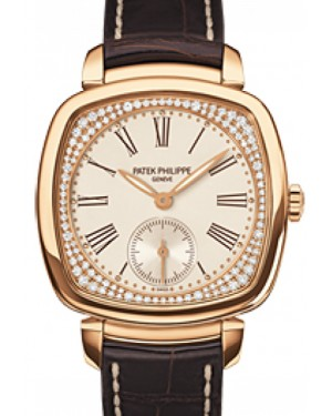Patek Philippe 7041R-001 Gondolo Ladies 30 × 33.8mm Cream Roman Rose Gold Diamond Set Leather - BRAND NEW