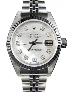 Rolex Ladies Datejust 79174 Jubilee Diamond Mother of Pearl 18k White Gold Stainless Steel