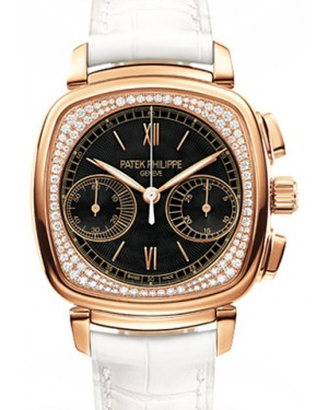 Patek Philippe 7071R-010 Complications Ladies Chronograph 35 × 39mm Black Guilloche Roman Rose Gold Diamond Set Leather Manual - BRAND NEW