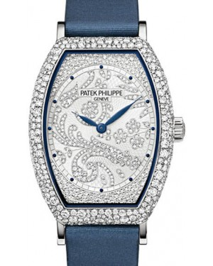 Patek Philippe 7099G-001 Gondolo Ladies 29.6 × 38.9mm Guilloched Diamond Pave White Gold Diamond Set Blue Satin Manual - BRAND NEW