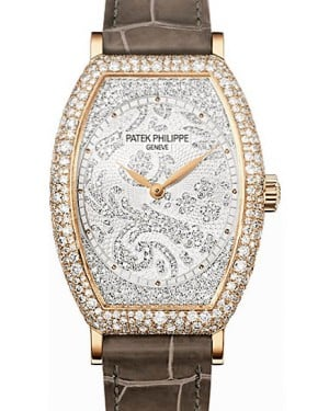 Patek Philippe 7099R-001 Gondolo Ladies 29.6 × 38.9mm Guilloched Diamond Pave Rose Gold Diamond Set Leather Manual - BRAND NEW