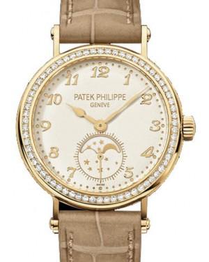 Patek Philippe 7121J-001 Complications Ladies Moon Phase 33mm Cream Arabic Diamond Bezel Yellow Gold Manual BRAND NEW