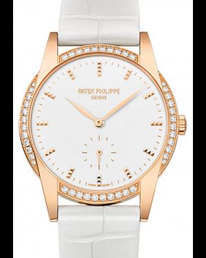 Patek Philippe 7122-200R-001 Ladies Calatrava 33mm White Hobnail Index Diamond Bezel Rose Gold Leather BRAND NEW