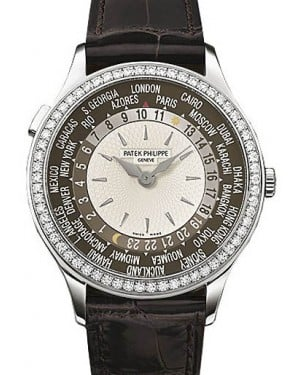 Patek Philippe 7130G-010 Complications Ladies World Time 36mm Brown Diamond Bezel White Gold Automatic BRAND NEW