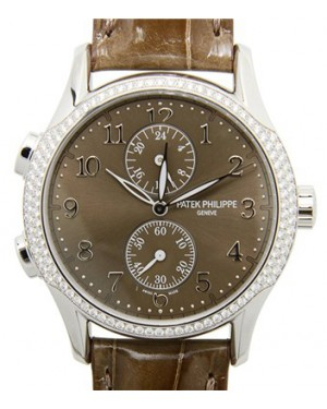 Patek Philippe 7134G-001 Complications Ladies Calatrava Time Travel 35mm Brown Sunburst Arabic Diamond Bezel White Gold Diamond Set Manual BRAND NEW