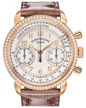 Patek Philippe Complications Silver Opaline Arabic Dial Diamond Bezel Rose Gold Brown Leather 38mm 7150/250R-001 - BRAND NEW