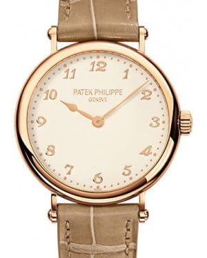 Patek Philippe Calatrava Ladies Silver Arabic Dial Rose Gold Bezel Brown Leather 34.6mm 7200R-001 - BRAND NEW
