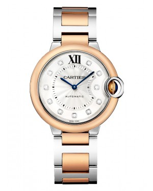 Cartier Ballon Bleu De Silver Diamond Dial Rose Gold Bezel Rose Gold & Steel Bracelet 36mm W3BB0013 - BRAND NEW