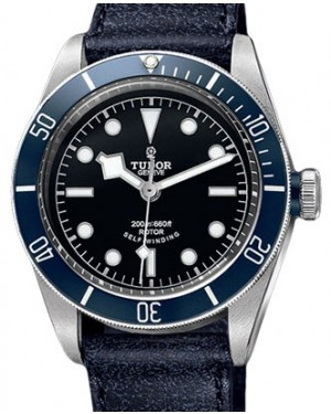 Tudor Heritage Black Bay 79220B Black Index Stainless Steel & Blue Leather 41mm BRAND NEW
