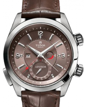 Tudor Heritage Advisor 79620TC Cognac Arabic & Index Titanium & Stainless Steel Leather Bracelet 42mm BRAND NEW