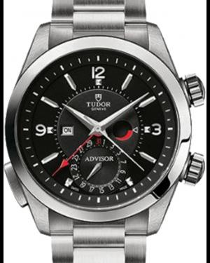 Tudor Heritage Advisor 79620TN Black Arabic & Index Titanium & Stainless Steel Leather Bracelet 42mm BRAND NEW