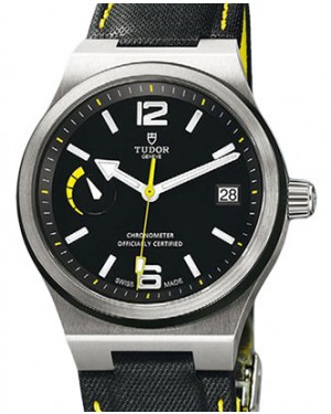 Tudor North Flag 91210N Black Yellow Arabic & Index Stainless Steel & Leather 40mm BRAND NEW