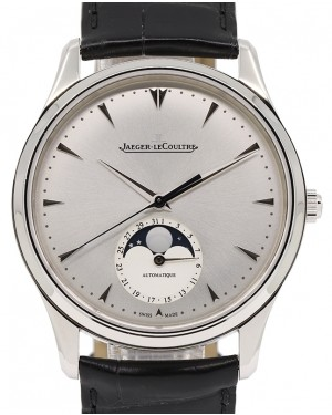Jaeger-LeCoultre Master Ultra Thin Moon Stainless Steel 39mm Silver Dial Automatic Self-Winding Black Leather Strap 1368420 - PRE-OWNED