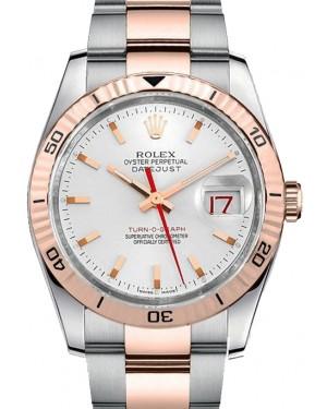 Rolex Datejust 36 Rose Gold/Steel White Index Dial & Turn-O-Graph Thunderbird Bezel Oyster Bracelet 116261 - BRAND NEW