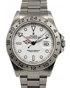 Rolex Explorer II Stainless Steel White 40mm Dial GMT Date Oyster GMT Date 16570 - PREOWNED