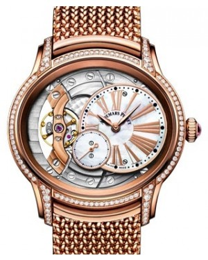 Audemars Piguet Millenary Hand-Wound Diamond Set Rose Gold White Mother of Pearl Roman Dial &  Bezel Rose Gold Bracelet 77247OR.ZZ.1272OR.01 - BRAND NEW