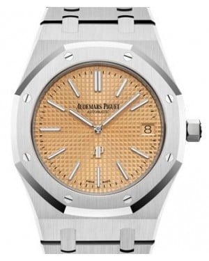 "Audemars Piguet Royal Oak ""Jumbo"" Extra-Thin White Gold Pink Gold-Toned Index Dial & Fixed Bezel White Gold Bracelet 15202BC.OO.1240BC.01 - BRAND NEW"