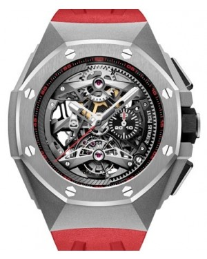 Audemars Piguet Royal Oak Concept Tourbillon Chronograph Openworked Selfwinding Titanium Black  Dial & Fixed Bezel Red Rubber Bracelet 26587TI.OO.D067CA.01 - BRAND NEW