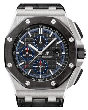 Audemars Piguet Royal Oak Offshore Selfwinding Chronograph Platinum Black Index Dial & Ceramic Bezel Leather Bracelet 26411PO.OO.A002CR.01 - BRAND NEW