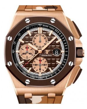 Audemars Piguet Royal Oak Offshore Selfwinding Chronograph Rose Gold Brown Index Dial & Ceramic Bezel Rubber Bracelet 26401RO.OO.A087CA.01 - BRAND NEW
