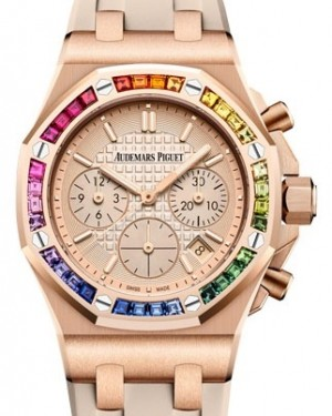 Audemars Piguet Royal Oak Offshore Selfwinding Chronograph Rose Gold Pink Gold-Toned Index Dial & Rainbow Baguette Sapphires Bezel Rubber Bracelet 26236OR.YY.D085CA.01 - BRAND NEW