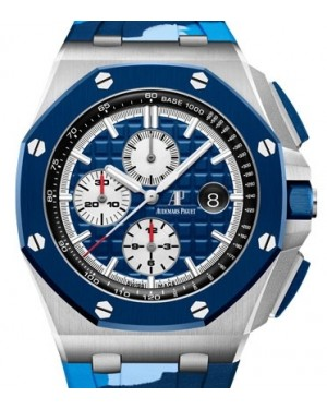 Audemars Piguet Royal Oak Offshore Selfwinding Chronograph Stainless Steel Blue Index Dial & Ceramic Bezel Rubber Bracelet 26400SO.OO.A335CA.01 - BRAND NEW