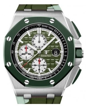 Audemars Piguet Royal Oak Offshore Selfwinding Chronograph Stainless Steel Green Index Dial & Ceramic Bezel Rubber Bracelet 26400SO.OO.A055CA.01 - BRAND NEW