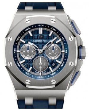 Audemars Piguet Royal Oak Offshore Selfwinding Chronograph Titanium Blue Index Dial & Fixed Bezel Rubber Bracelet 26480TI.OO.A027CA.01 - BRAND NEW