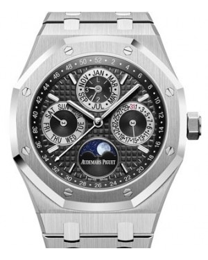 Audemars Piguet Royal Oak Perpetual Calendar Platinum Black Index Dial & Fixed Bezel Platinum Bracelet 26597PT.OO.1220PT.01 - BRAND NEW