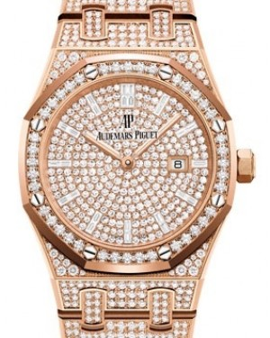 Audemars Piguet Royal Oak Quartz Diamond Set Rose Gold Diamond Paved Diamond Dial & Diamond Bezel Diamond Set Bracelet 67652OR.ZZ.1265OR.01 - BRAND NEW