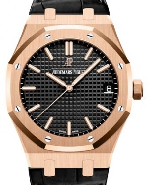 Audemars Piguet Royal Oak Selfwinding Rose Gold Black Index Dial & Fixed Bezel Leather Bracelet 15500OR.OO.D002CR.01 - BRAND NEW