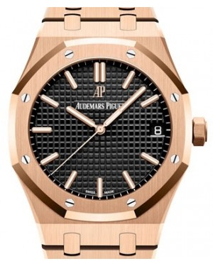 Audemars Piguet Royal Oak Selfwinding Rose Gold Black Index Dial & Fixed Bezel Rose Gold Bracelet 15500OR.OO.1220OR.01 - BRAND NEW