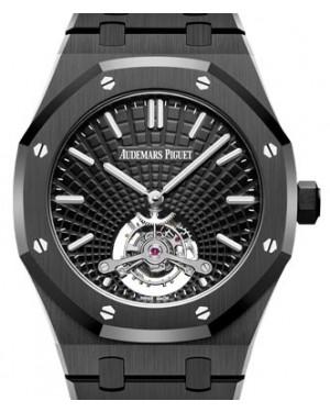 Audemars Piguet Royal Oak Tourbillon Extra-Thin Black Ceramic Black Index Dial & Fixed Bezel Ceramic Bracelet 26522CE.OO.1225CE.01 - BRAND NEW