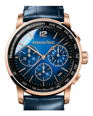 Audemars Piguet Code 11.59 Selfwinding Chronograph Rose Gold/Sapphire 41mm Blue Dial Leather Strap 26393OR.OO.A028CR.01 - Brand New
