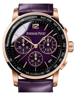 Audemars Piguet Code 11.59 Selfwinding Chronograph Rose Gold/Sapphire 41mm Purple Dial Leather Strap 26393OR.OO.A616CR.01 - Brand New
