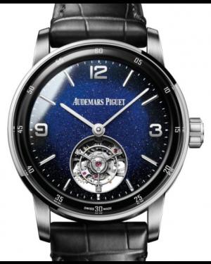 Audemars Piguet Code 11.59 Selfwinding Flying Tourbillon White Gold/Sapphire 41mm Blue Aventurine Dial Leather Strap 26396BC.OO.D002CR.01 - Brand New