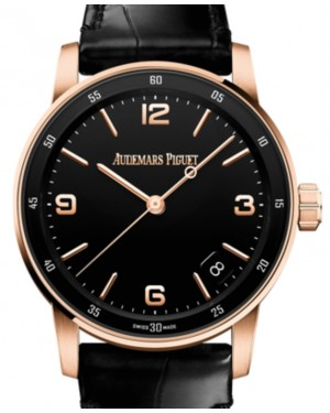 Audemars Piguet Code 11.59 Selfwinding Rose Gold/Sapphire 41mm Black Dial Leather Strap 15210OR.OO.A002CR.01 - Brand New