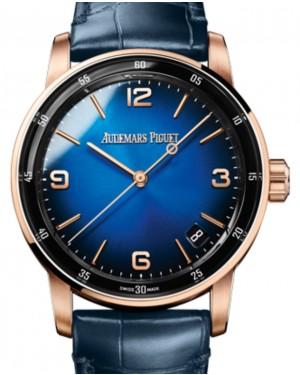 Audemars Piguet Code 11.59 Selfwinding Rose Gold/Sapphire 41mm Blue Dial Leather Strap 15210OR.OO.A028CR.01 - Brand New